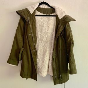 Hooded Forest Green Faux Fur Lined Jacket